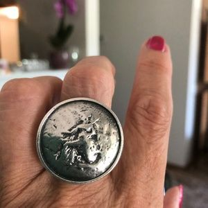 Silpada R1901 Silver Stamped Coin Ring HTF